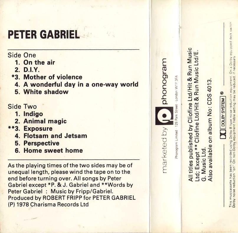 Peter Gabriel Album 1978